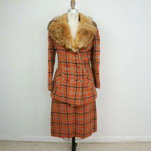 Vintage 60s Tweed Blazer Skirt Suit Fox Fur Mod